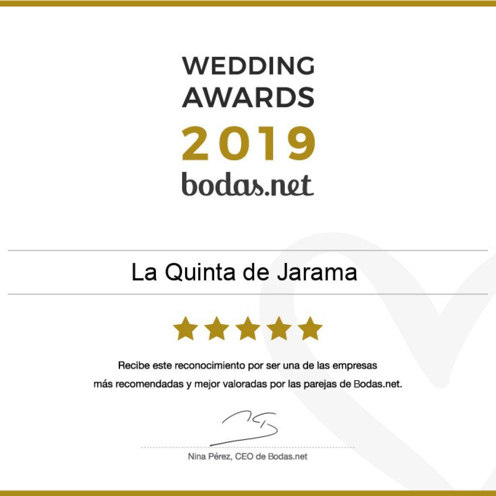Premio Wedding Awards 2019 de Bodas.net a La Quinta de Jarama